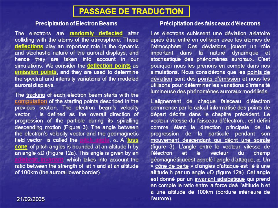 PASSAGE DE TRADUCTION Precipitation of Electron Beams