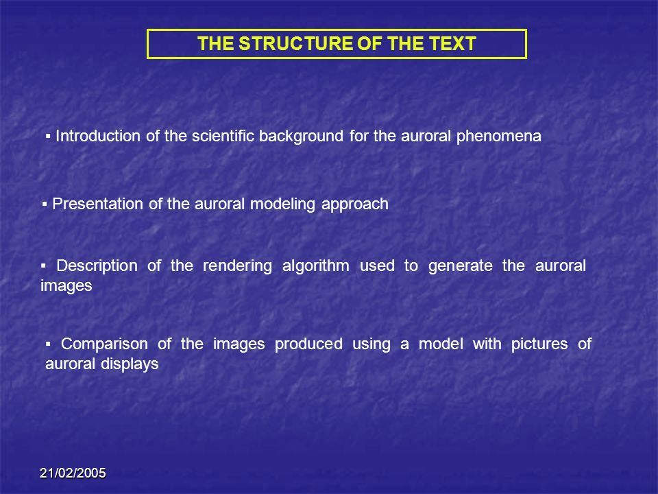 THE STRUCTURE OF THE TEXT