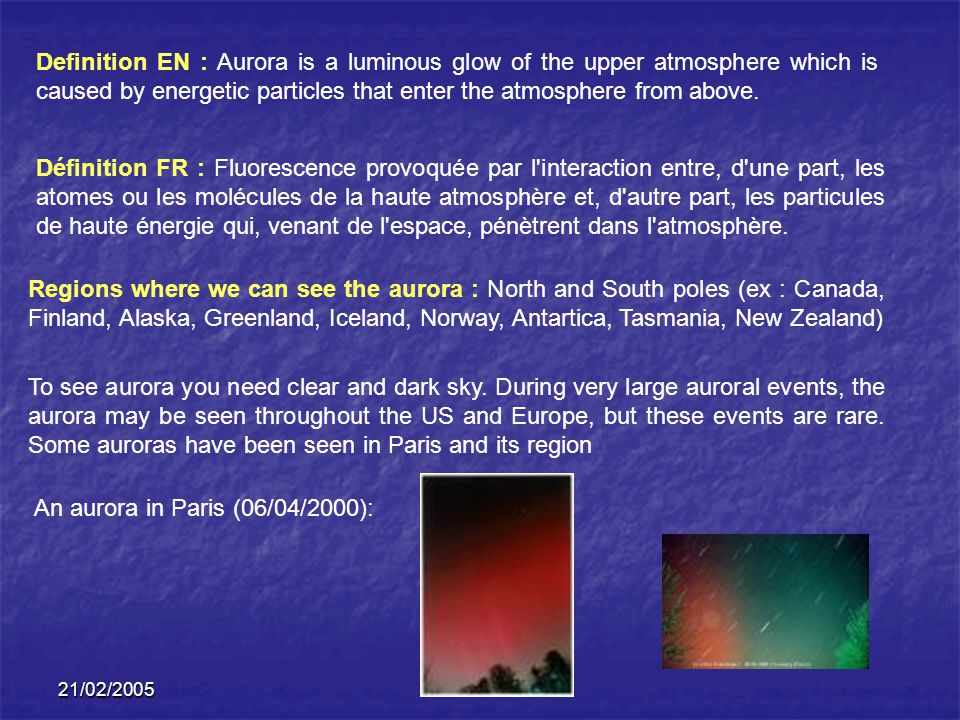 An aurora in Paris (06/04/2000):