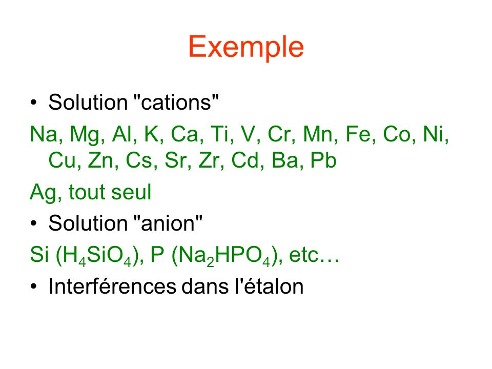 Exemple Solution cations