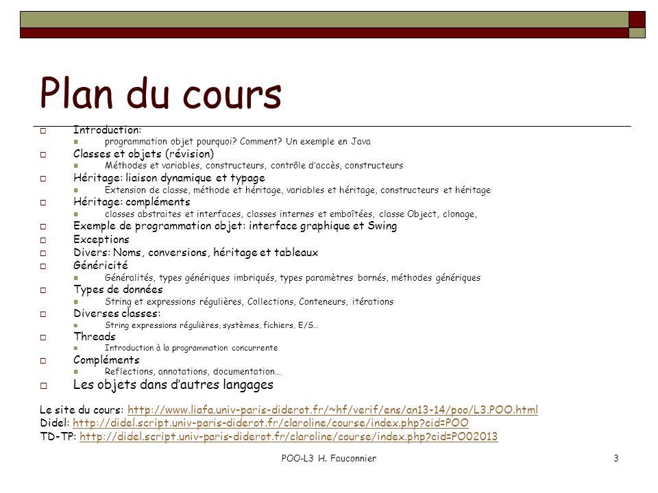 Plan du cours Les objets dans d'autres langages Introduction: