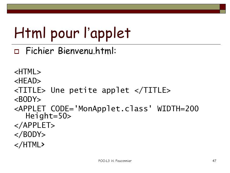 Html pour l'applet Fichier Bienvenu.html: <HTML> <HEAD>