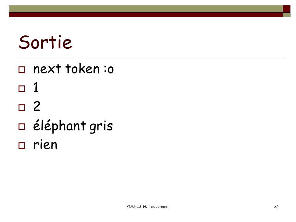 Sortie next token :o 1 2 éléphant gris rien POO-L3 H. Fauconnier