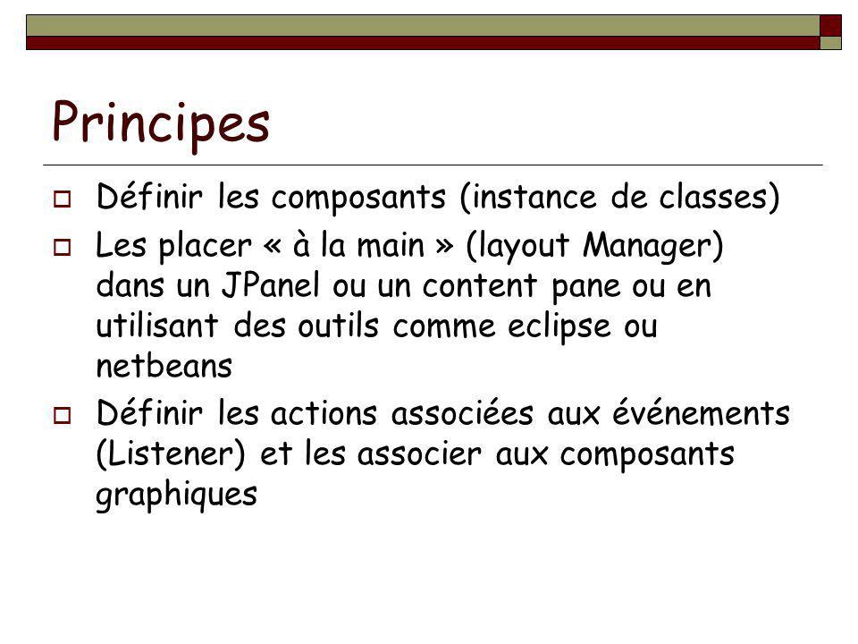 Principes Définir les composants (instance de classes)
