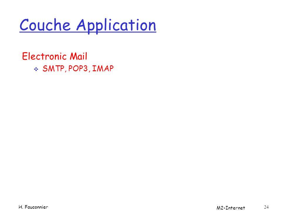 Couche Application Electronic Mail SMTP, POP3, IMAP H. Fauconnier