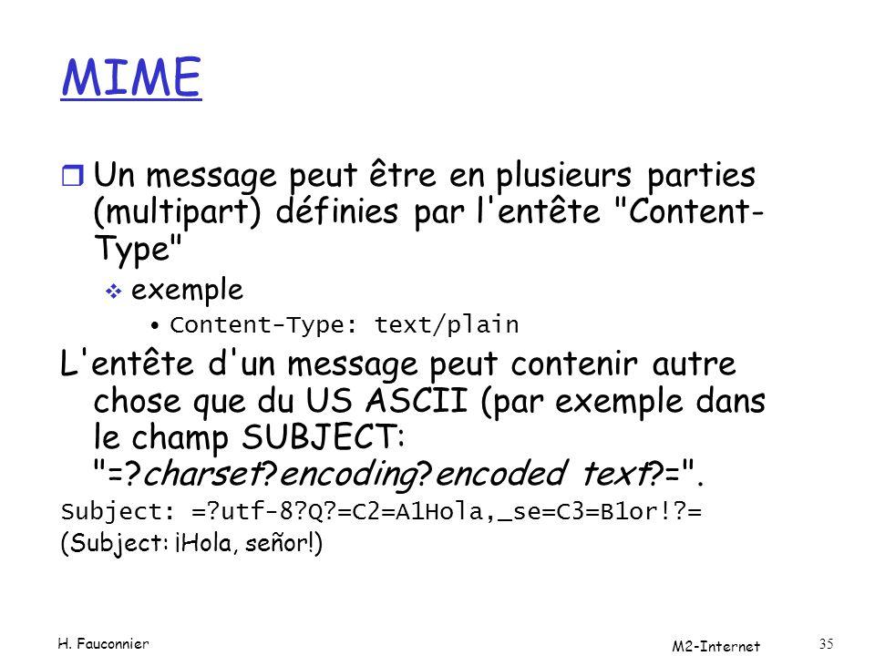 MIME Un message peut être en plusieurs parties (multipart) définies par l entête Content-Type exemple.