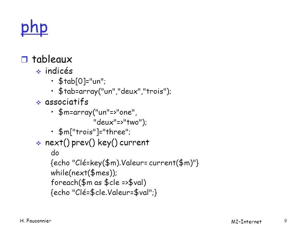 php tableaux indicés associatifs next() prev() key() current