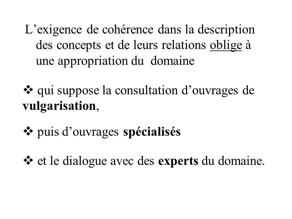 L'exigence de cohérence dans la description des concepts et de leurs relations oblige à une appropriation du domaine