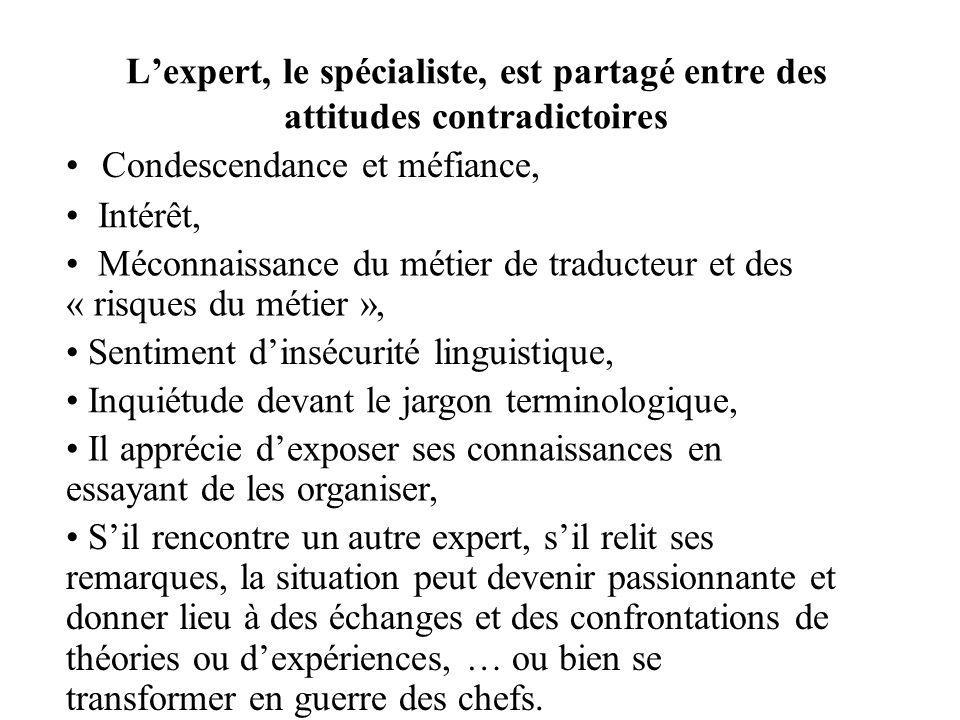 L'expert, le spécialiste, est partagé entre des attitudes contradictoires
