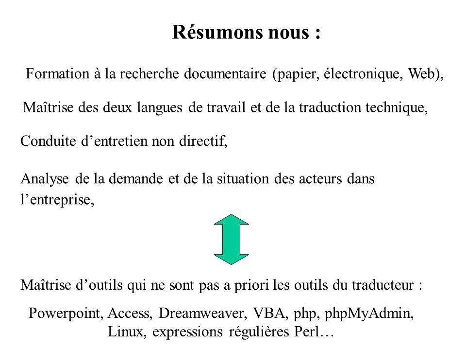 Résumons nous : Formation à la recherche documentaire (papier, électronique, Web),