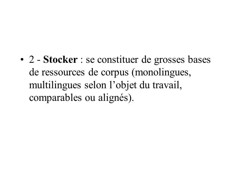 2 - Stocker : se constituer de grosses bases de ressources de corpus (monolingues, multilingues selon l'objet du travail, comparables ou alignés).