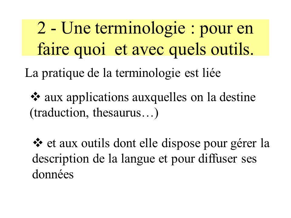 2 - Une terminologie : pour en faire quoi et avec quels outils.
