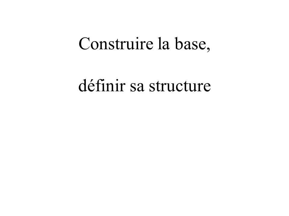 Construire la base, définir sa structure