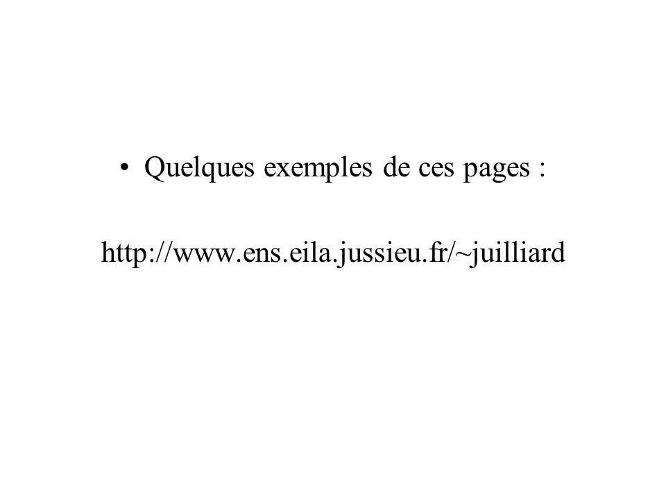 Quelques exemples de ces pages :