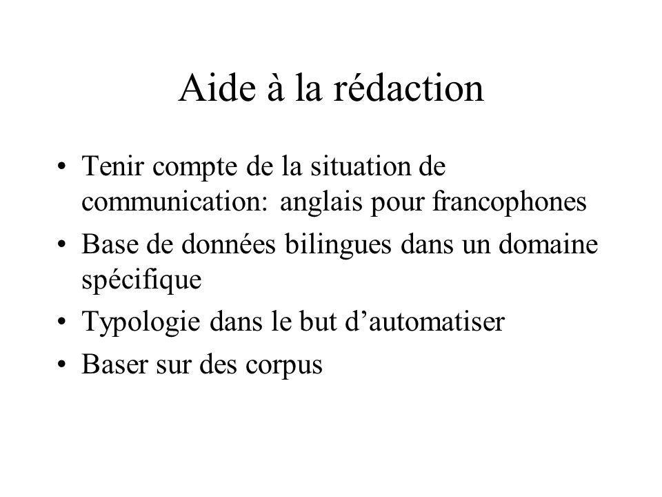 Aide à la rédaction Tenir compte de la situation de communication: anglais pour francophones. Base de données bilingues dans un domaine spécifique.