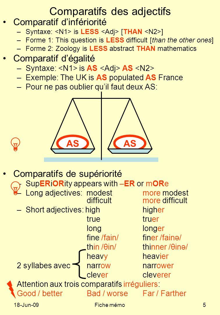 Comparatifs des adjectifs