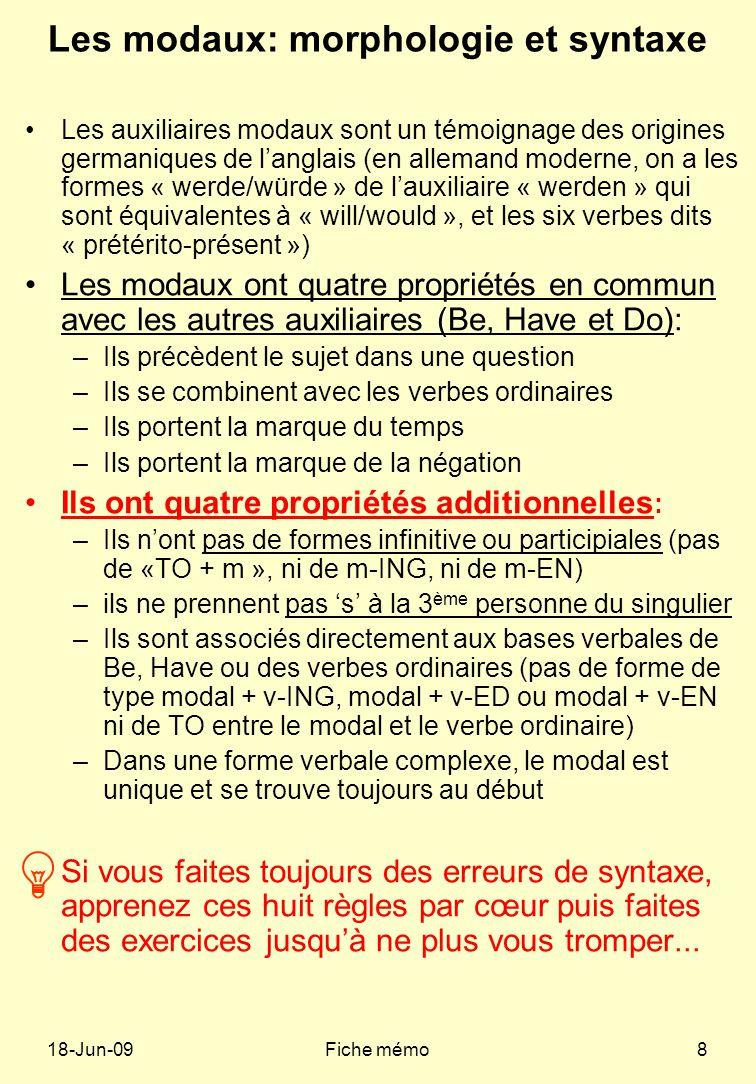 Les modaux: morphologie et syntaxe