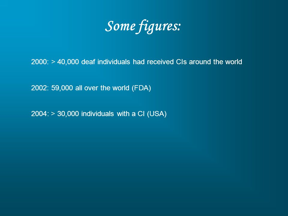 Some figures: 2000: > 40,000 deaf individuals had received CIs around the world. 2002: 59,000 all over the world (FDA)