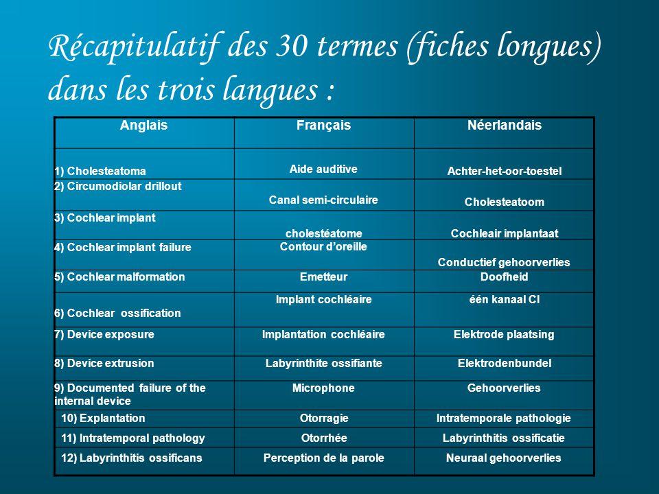 Récapitulatif des 30 termes (fiches longues) dans les trois langues :