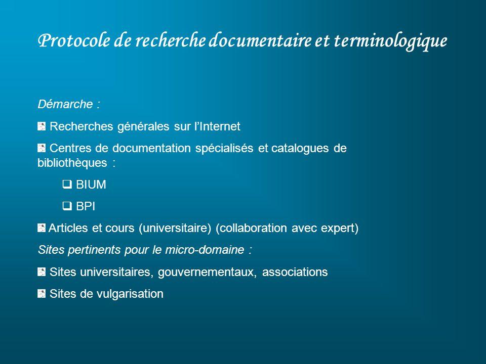 Protocole de recherche documentaire et terminologique