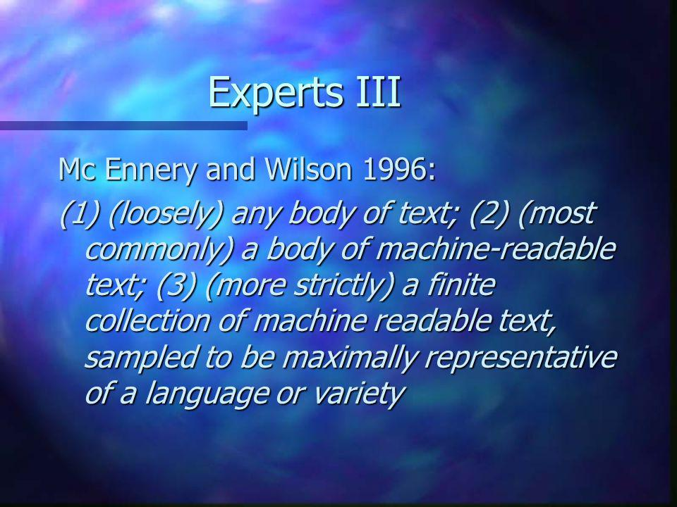 Experts III Mc Ennery and Wilson 1996: