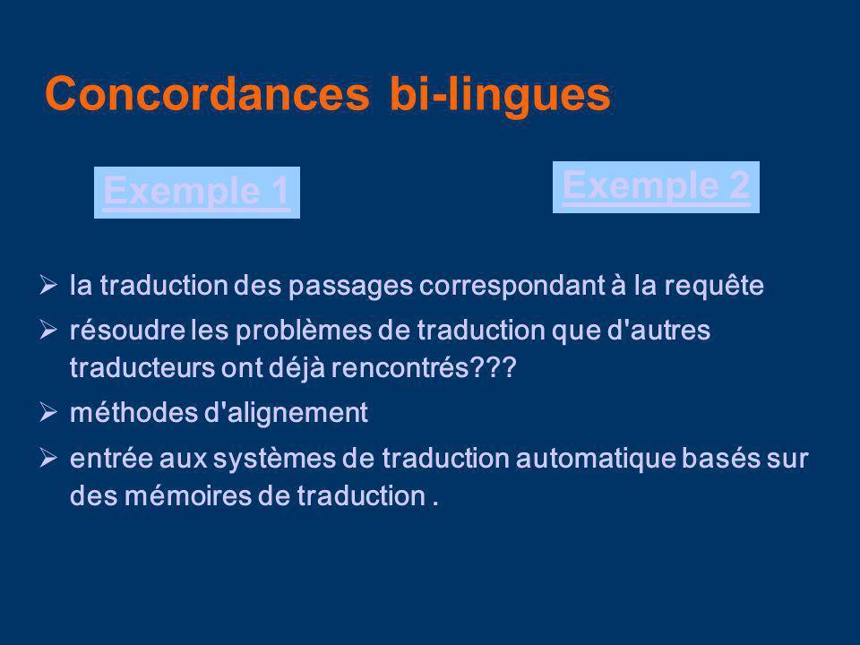 Concordances bi-lingues