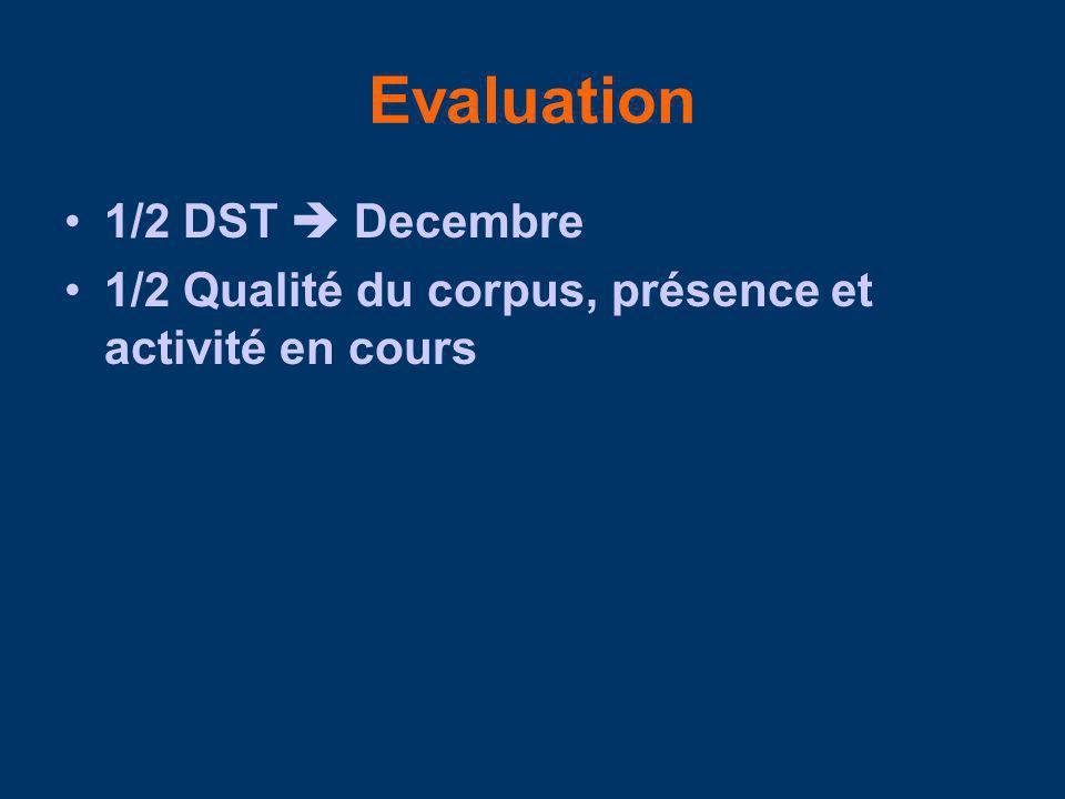 Evaluation 1/2 DST  Decembre