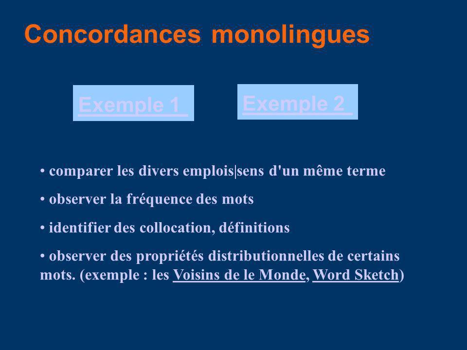 Concordances monolingues