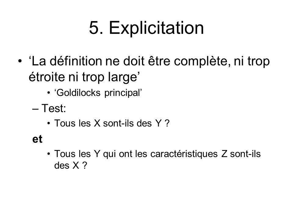 5. Explicitation 'La définition ne doit être complète, ni trop étroite ni trop large' 'Goldilocks principal'