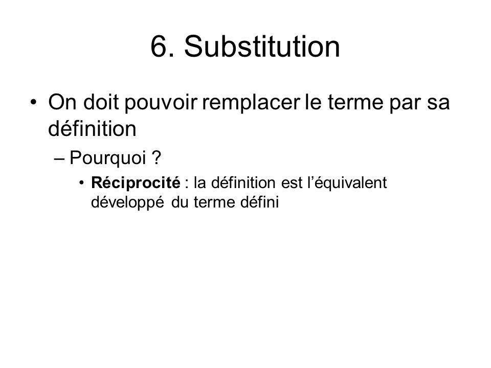 6. Substitution On doit pouvoir remplacer le terme par sa définition