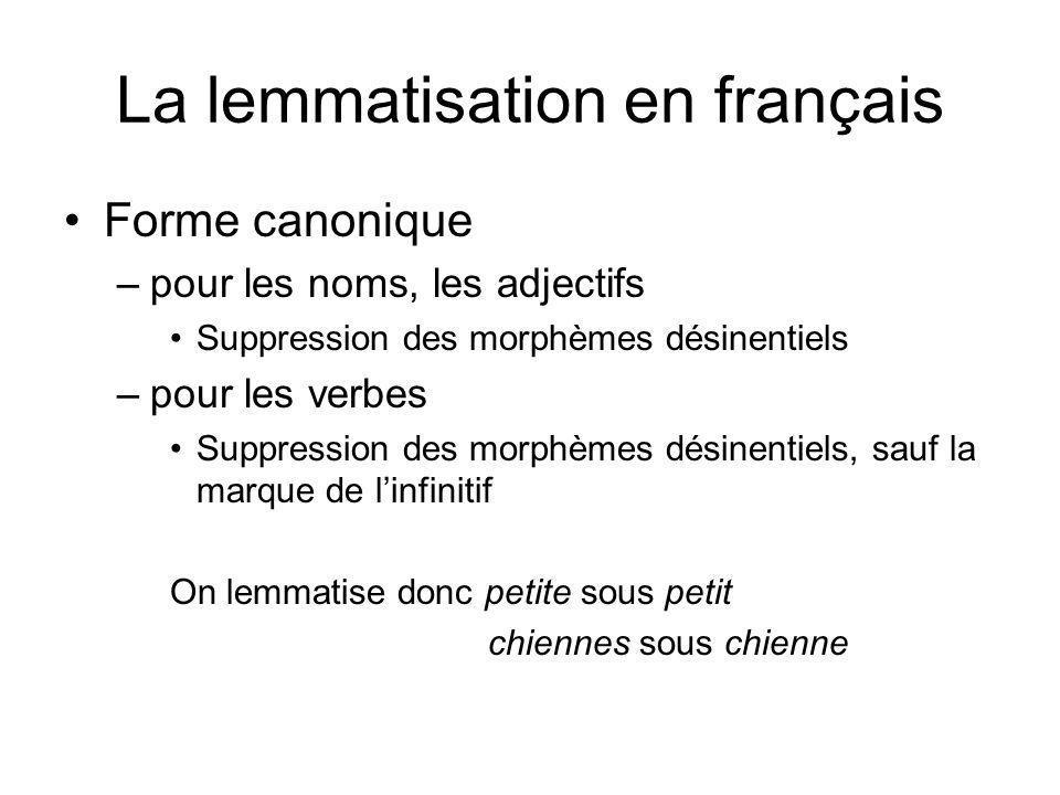 La lemmatisation en français