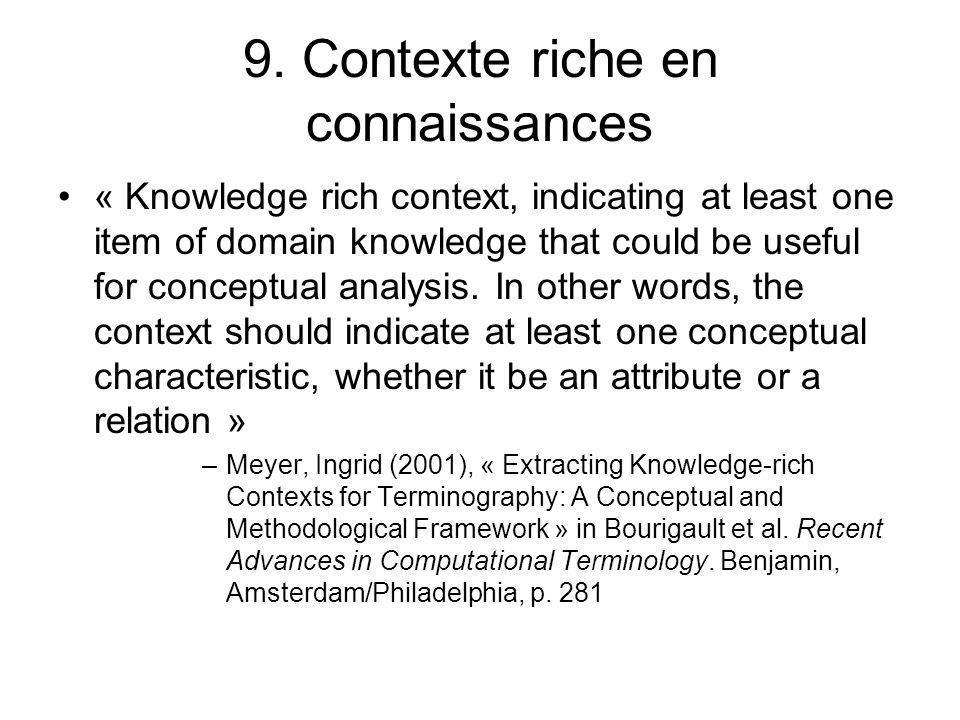 9. Contexte riche en connaissances