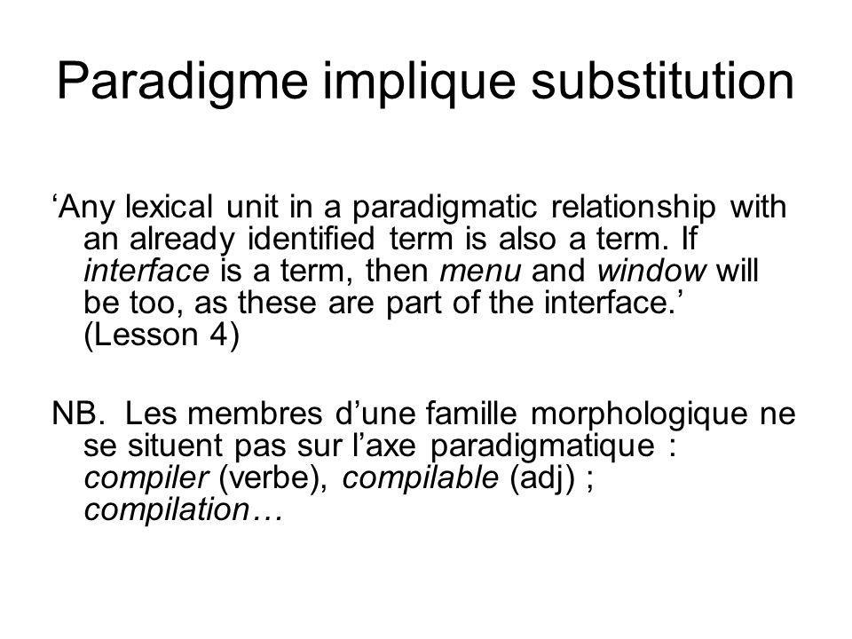 Paradigme implique substitution