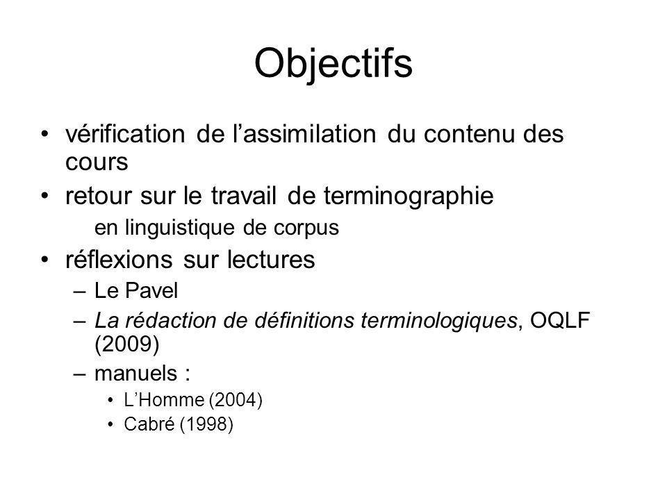 Objectifs vérification de l'assimilation du contenu des cours