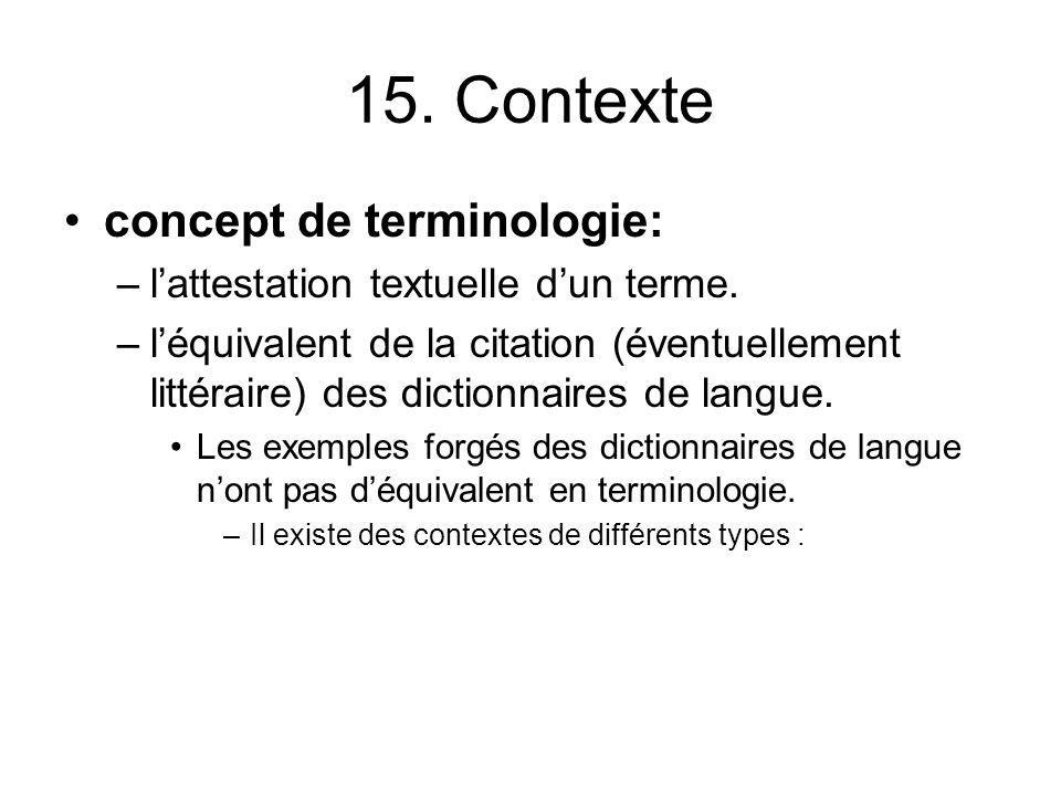 15. Contexte concept de terminologie: