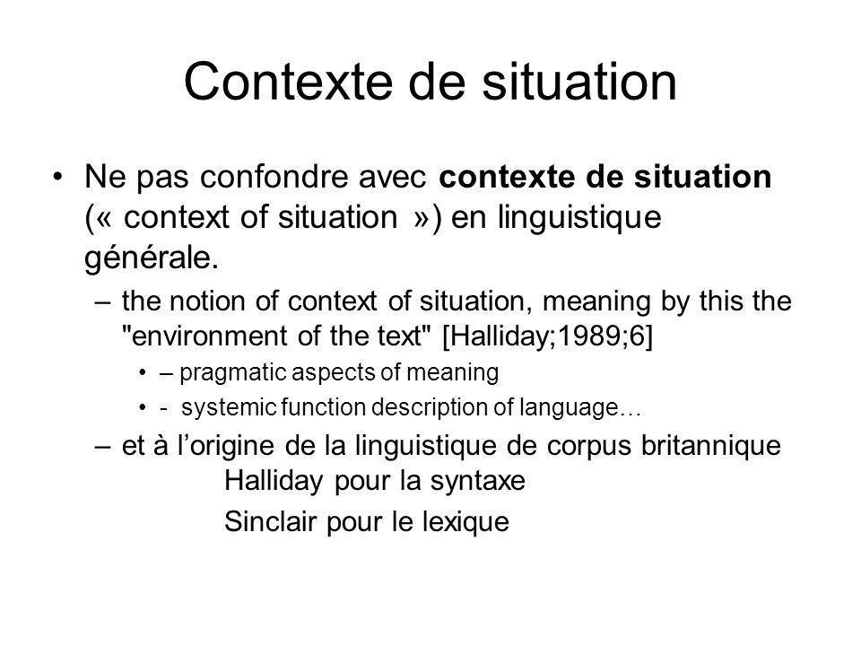 Contexte de situation Ne pas confondre avec contexte de situation (« context of situation ») en linguistique générale.