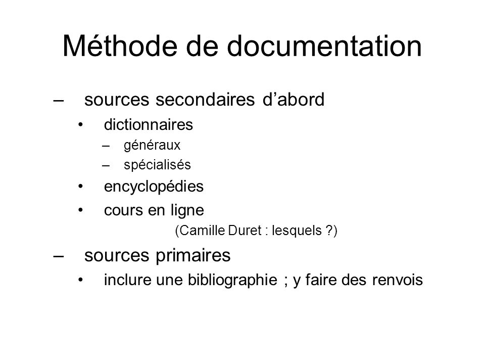 Méthode de documentation