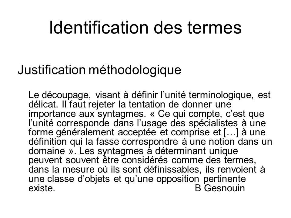 Identification des termes