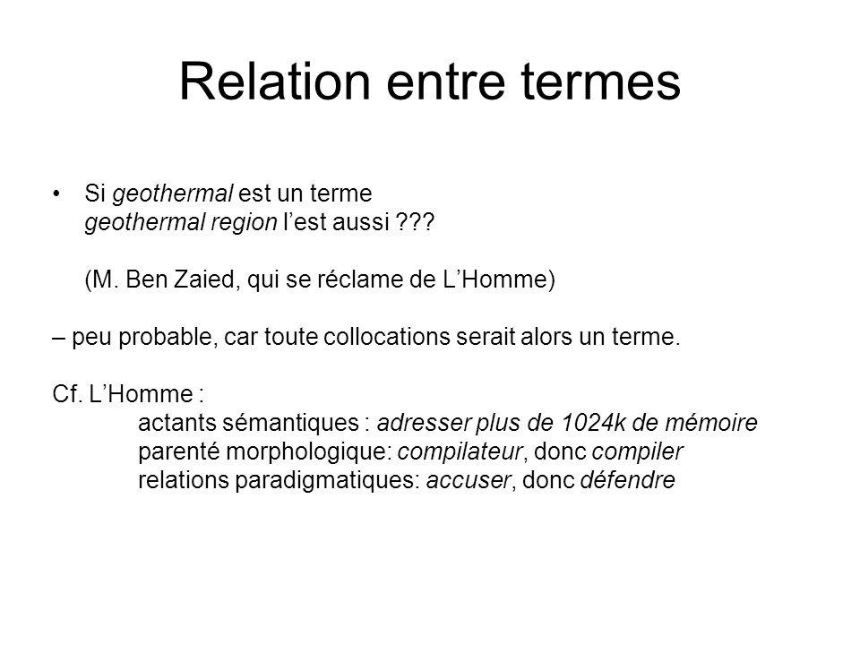 Relation entre termes Si geothermal est un terme