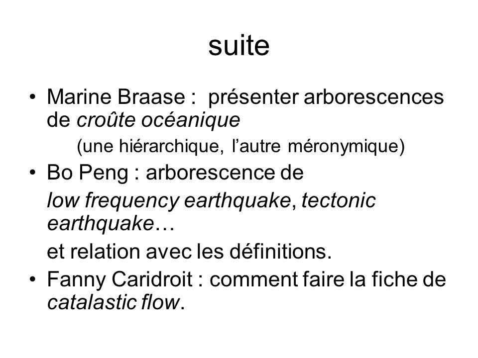 suite Marine Braase : présenter arborescences de croûte océanique