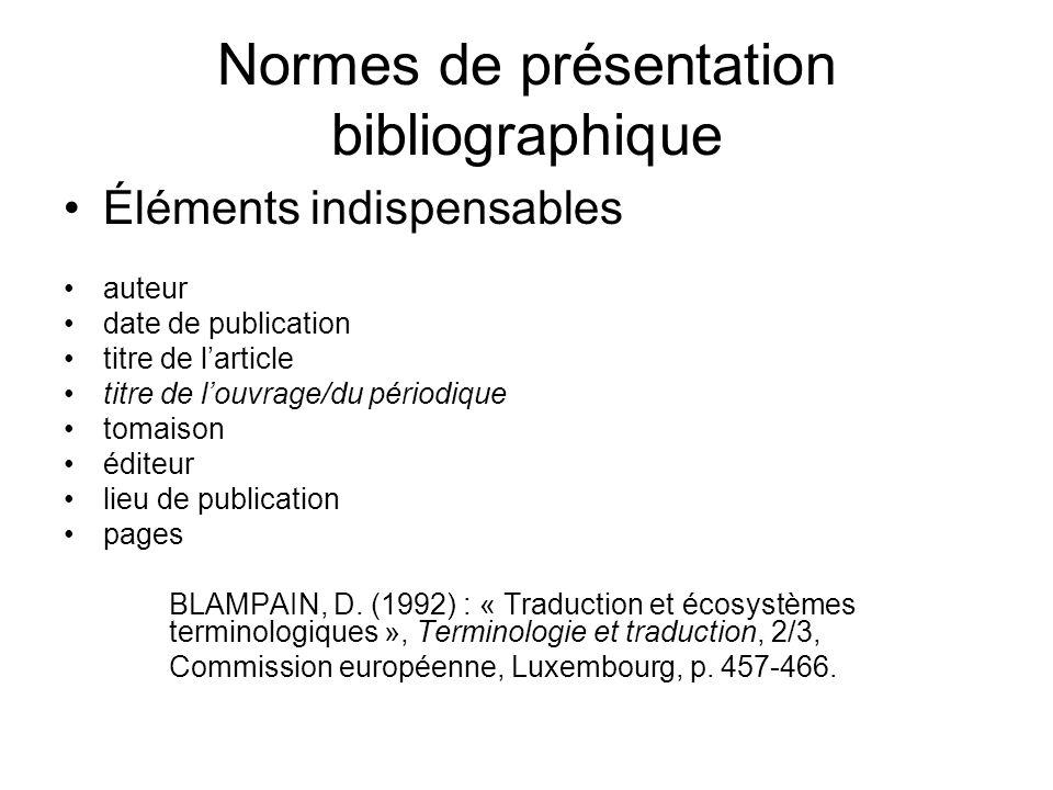 Normes de présentation bibliographique
