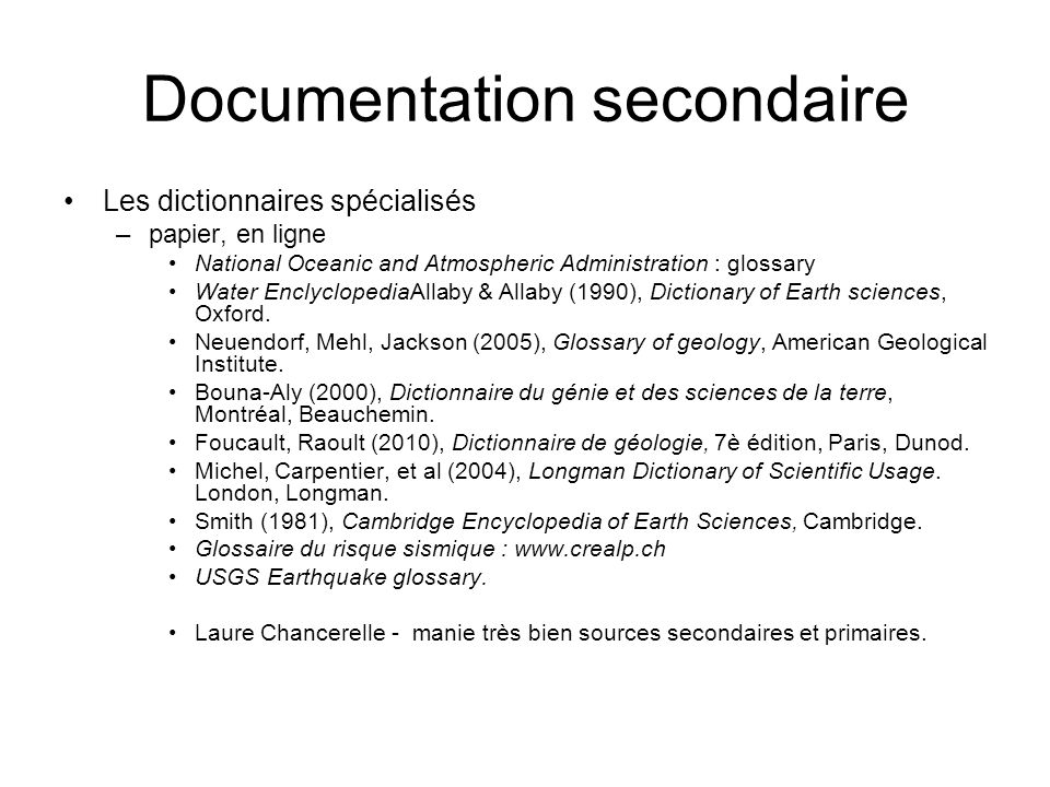 Documentation secondaire