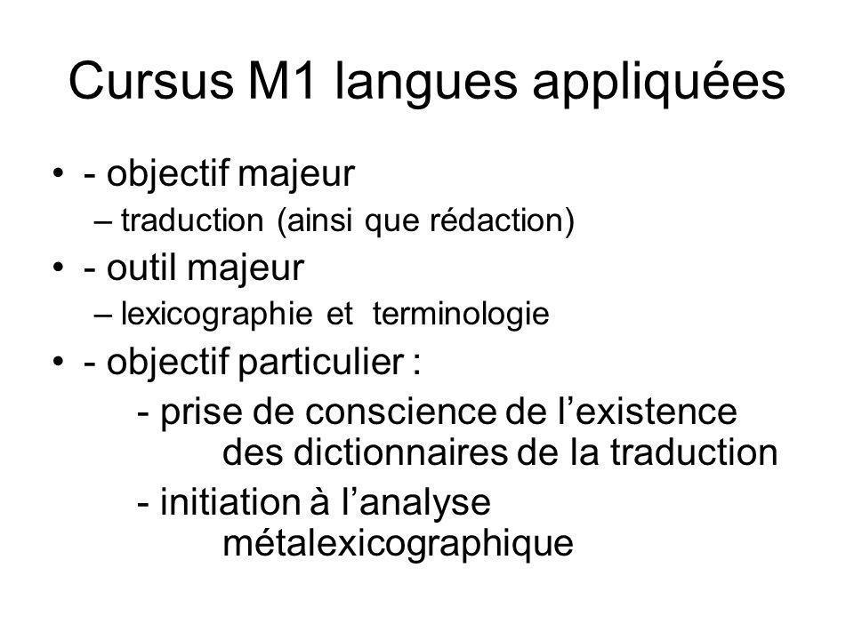 Cursus M1 langues appliquées