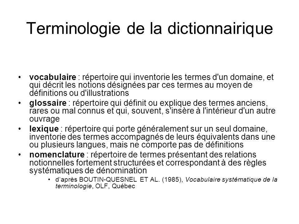 Terminologie de la dictionnairique
