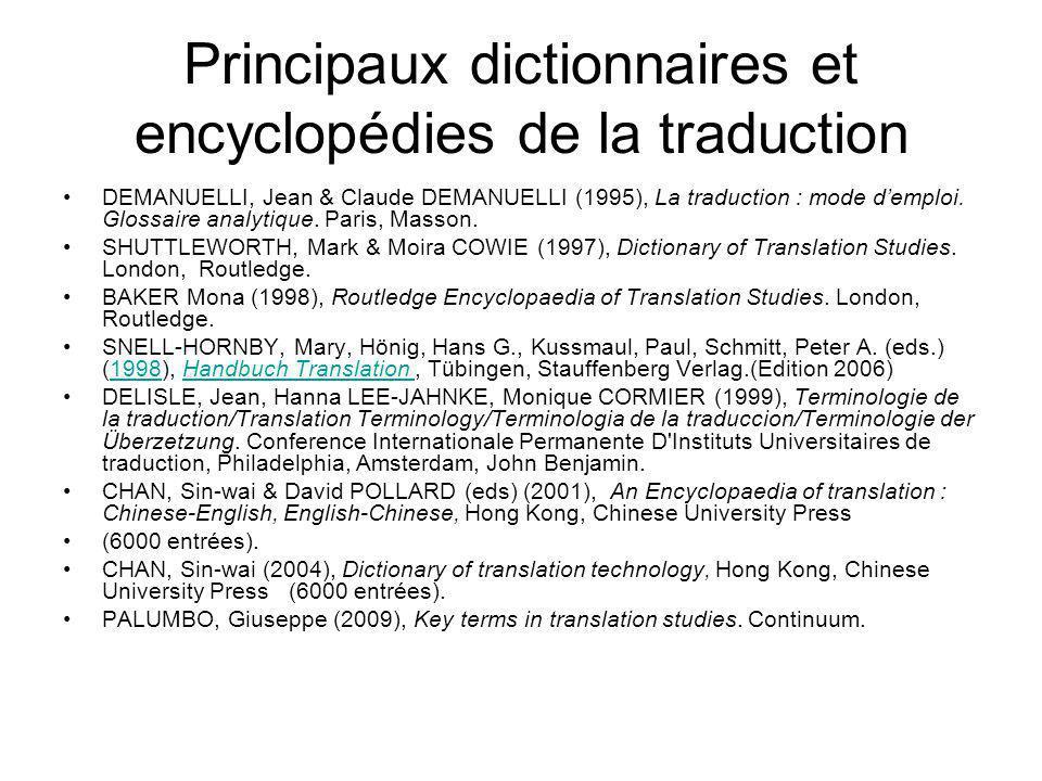 Principaux dictionnaires et encyclopédies de la traduction