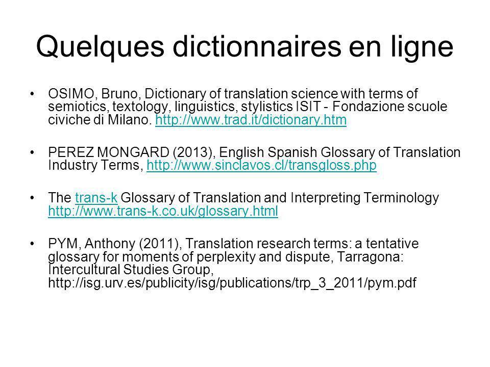 Quelques dictionnaires en ligne