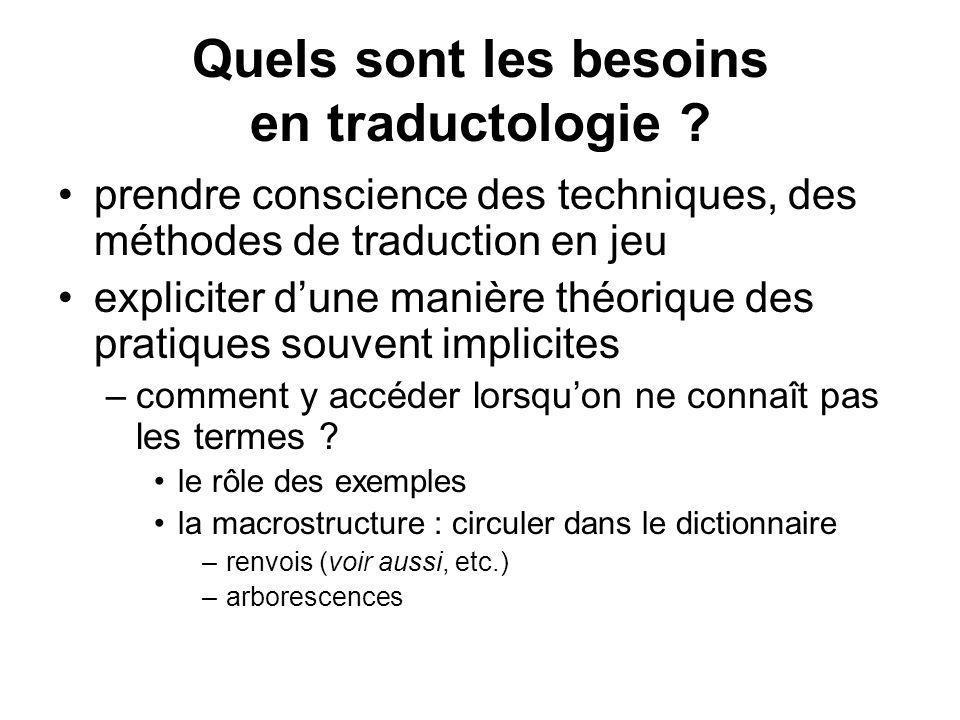 Quels sont les besoins en traductologie