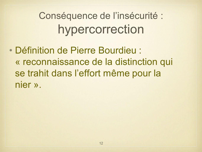 Conséquence de l'insécurité : hypercorrection