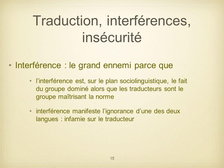 Traduction, interférences, insécurité