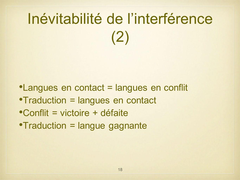 Inévitabilité de l'interférence (2)